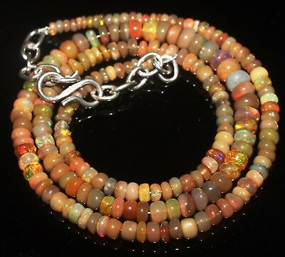 42 Ctw 2-5.5 Mm 16 Natural Genuine Ethiopian Welo Fire Opal Beads Necklace-R6567
