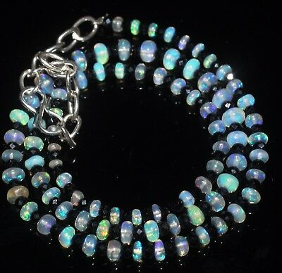 38 Ctw 1Necklace 3to4.5 mm genuine ethiopian opal beads with spinal beads  R6238