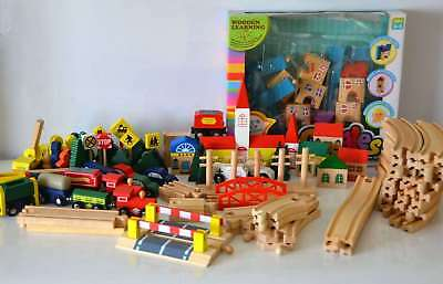 Bulk Lot Wooden Railway tracks, trains, crossing, building blocks & accessories