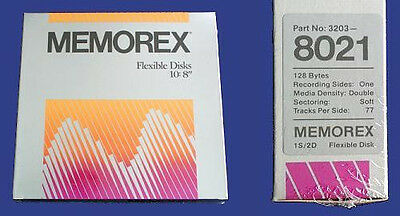 "MEMOREX SSDD 8"" Flexible/Floppy Disks 10x 8 inch - NEW"