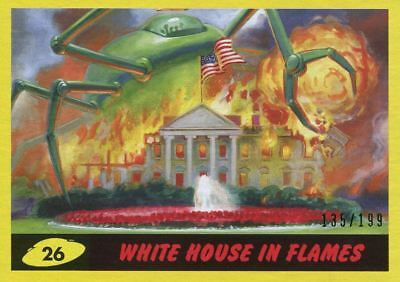 Mars Attacks The Revenge Yellow [199] Base Card #26 White House in Flames