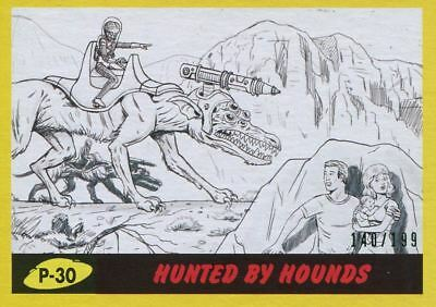 Mars Attacks The Revenge Yellow [199] Pencil Art Base Card P-30 Hunted by Hounds
