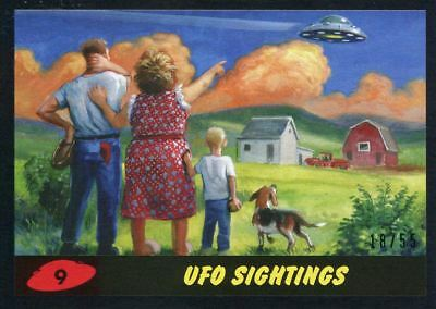 Mars Attacks The Revenge Black [55] Base Card #9 UFO Sightings