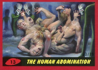 Mars Attacks The Revenge Red [99] Base Card #13 The Human Abomination