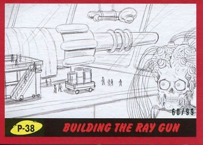 Mars Attacks The Revenge Red [99] Pencil Art Base Card P-38 Building the Ray Gun