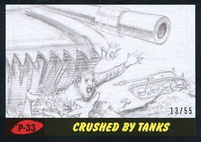 Mars Attacks The Revenge Black [55] Pencil Art Base Card P-33 Crushed by Tanks