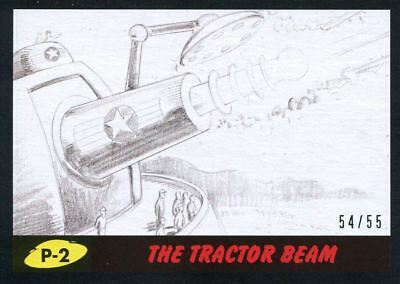 Mars Attacks The Revenge Black [55] Pencil Art Base Card P-2 The Tractor Beam