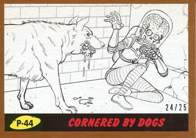 Mars Attacks The Revenge Bronze [25] Pencil Art Base Card P-44 Cornered by Dogs