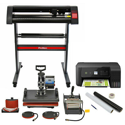 Heat Press 5 in 1 Combo, Vinyl Cutter, Printer & Weeding Pack Transfer Bundle