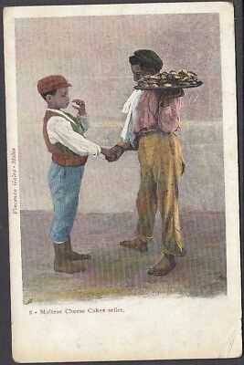 Malta - Maltese Cheese cake seller  - Early Postcard No.8 Pub - Vinzenco Galea