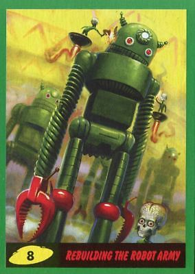 Mars Attacks The Revenge Green Base Card #8 Rebuilding the Robot Army