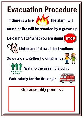 Poster Sign Fire Evacuation Procedure Educational Children Nursery Childminders