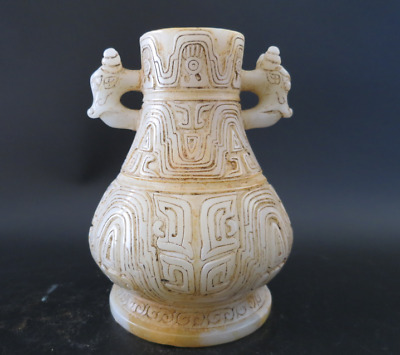 China Antique Han Dynasty Old White Jade dragon Statue vessel 1122g