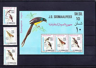 054647 Vögel Birds Somalia 294-96 + Block 10 ** MNH Year 1980