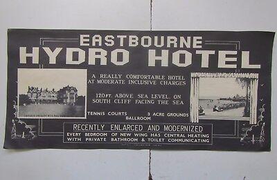 Old 'Hydro Hotel' EASTBOURNE Original Advertising Poster c1940s