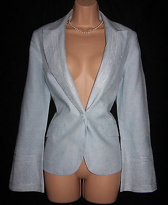 NWT Laura Ashley vintage ice-blue linen embroidered/ beaded summer blazer, 10UK