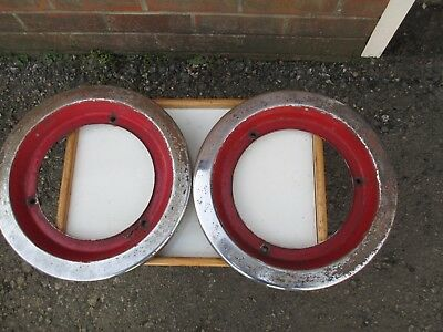 Pair Of Chrome Wheel Trims For An Aec Routemaster Bus