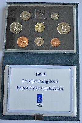 UK PROOF 8 COIN YEAR SET, 1990, £1 T0 1p, (2x 5p), WITH COA, IN BLUE CASE FDC