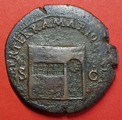 Scarce Copper As Of Nero: Temple Of Janus. Rome, Ad 65. Ric: 306. Quality Coin.