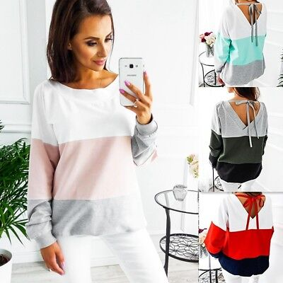 UK Womens Long Sleeve Lace Up Back Blouse Pullover Top Shirt Ladies Baggy Jumper