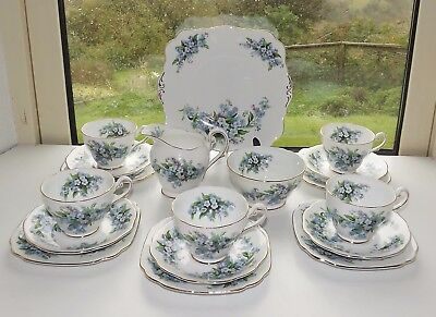 Royal Standard English Bone China Forget me not 18 Piece Teaset Cups Saucers etc