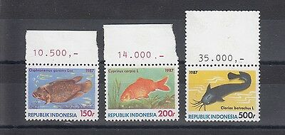 Timbre Stamp  3 Indonesie Y&t#1132-34 Poisson Fish  Neuf**/mnh-Mint 1987 ~A49