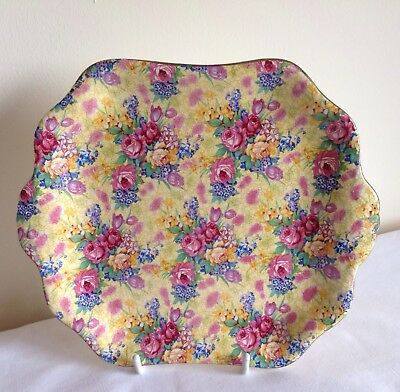 "Vintage Art Deco Royal Winton Chintz ""Wellbeck"" Cake Plate"