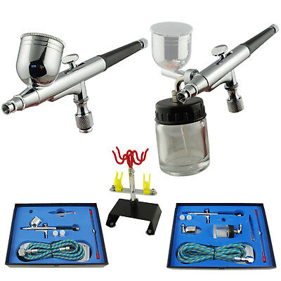 AIRBRUSH PISTOLEN SET SPRITZPISTOLEN DOUBLE-ACTION 0,2 mm 0,3 mm 0,5 mm HALTER