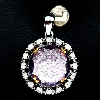 SPARKLING! NATURAL! 11mm. PINK AMETHYST & WHITE CZ STERLING 925 SILVER PENDANT