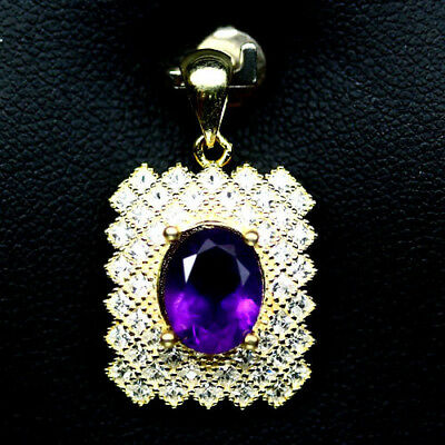 MAGNIFICENT! NATURAL! 7 X 9mm. PURPLE AMETHYST & WHITE CZ..925 SILVER PENDANT