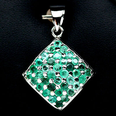 Amazing! Natural! Green Emerald Sterling 925 Silver Pendant White Gold Plated