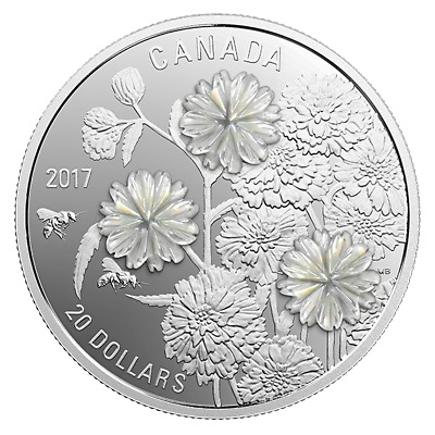 20 $ Dollar Pearl Flower Mother of Pearl Perlmutt Kanada 1 oz Silber PP 2017