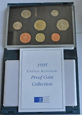 UK PROOF 8 COIN YEAR SET, 1995, £2 T0 1p, WITH COA, IN BLUE CASE