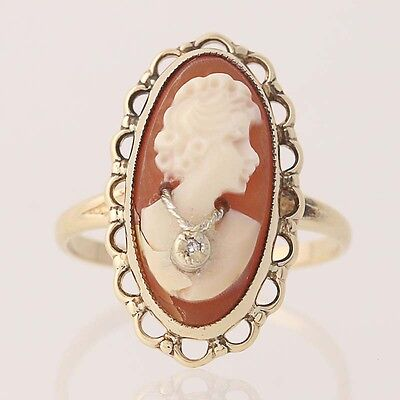 Vintage Carved Shell Cameo Ring - 10k Yellow Gold Diamond Accent Size 4 1/2