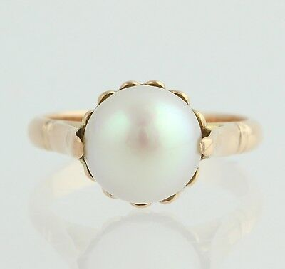 Vintage Cultured Pearl Ring - 18k Yellow Gold 8.3mm June Gift Size 3 3/4 - 4