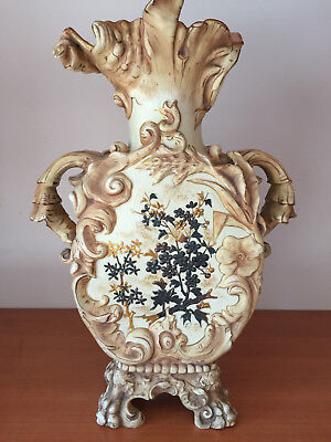 LARGE Nouveau Buff Turn Teplitz AMPHORA Art Pottery VASE Black Gold Enamel 14.5""