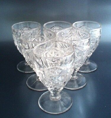 Vintage Imperial Glass STAR & FILE Set of 6 Cordials EAPG