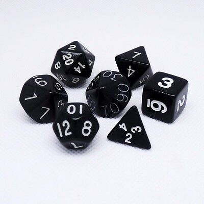 7pcs Black Sided DUNGEONS&DRAGONS RPG Poly Dice Game Role Playing Game