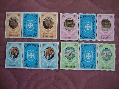 Royal Wedding 1981 Prince Charles & Diana Jamaica stamps in gutter pairs