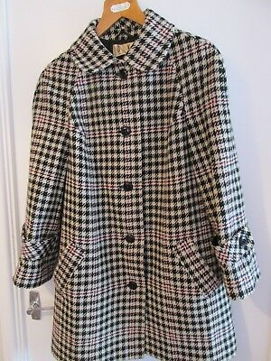 Vintage Daks Simpson Houndstooth Check Wool Coat~Black & Cream~Size 16-18?