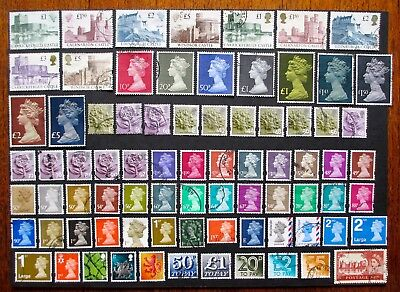 GB selection used CASTLES, REGIONALS, TO PAY, DEFINITIVES - 78 stamps 1970-2010