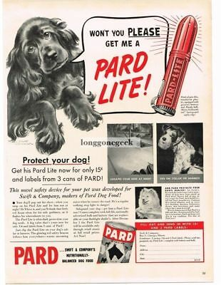 1940 Pard Dog Food Pard-Lite red Flashlight Vtg Print Ad