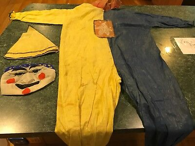 Vintage Antique Yellow & Blue Halloween Creepy Clown Costume w/ Hat & Mask *RARE