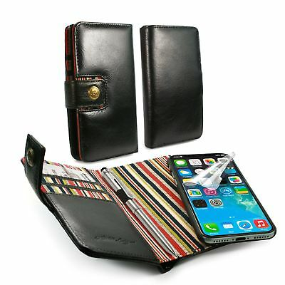 Alston Craig Genuine Leather Magnetic Shell Wallet Case for iPhone X / XS-Black