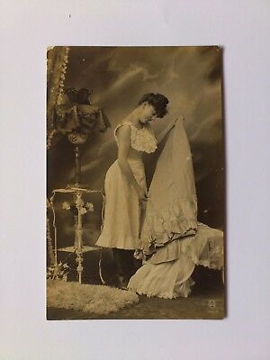 Early Risque Erotic Postcard Young Lady Undressing Original Not Modern