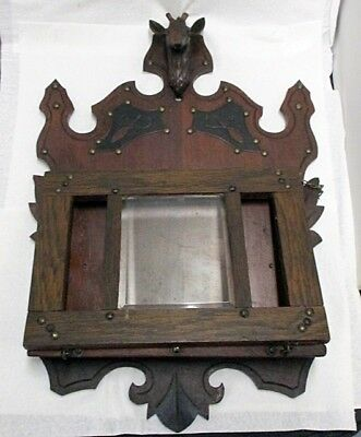 Beautiful Antique Wall Hanging Magazine Rack With Deer Head