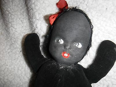 Black Baby Doll- Vintage 11 1/2 Tall Black Velvet Body - Cloth Hand Painted Face