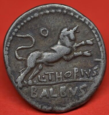Lovely Republican Silver Denarius Of L. Thorius Balbus, 105 Bc. Juno / Bull. Vf+