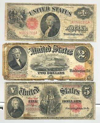 $1 and $2 1917 and $5 Series 1907 Woodchopper United States Notes no reserve