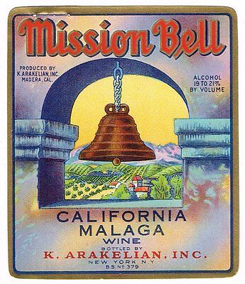 1936 Mission Bell Wine Bottle Label Madera California Genuine Malaga 3.25X4""